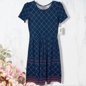 Lularoe Argyle Diamond Print Amelia Dress Sz L